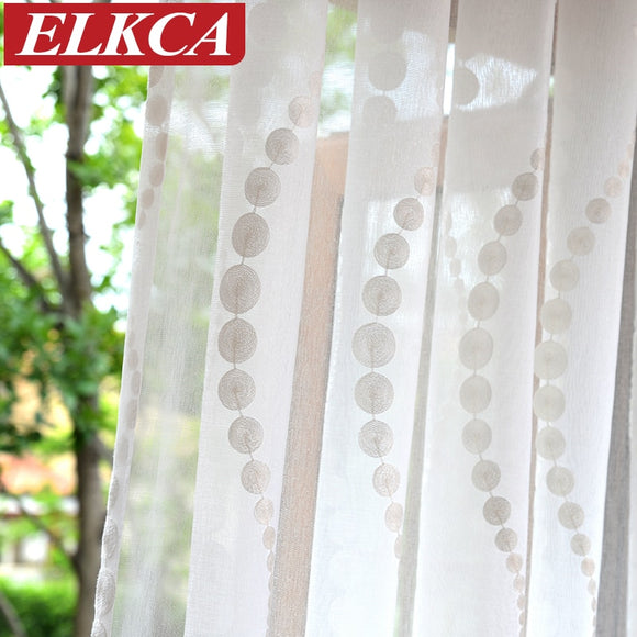 Elegant Wave Embroidered White Tulle Curtains for Living Room Sheer Curtains - Beltran's Enterprise