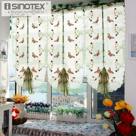 1 PCS Pastoral Tulle Window Roman Curtain Embroidered Sheer For Kitchen Living Room - Beltran's Enterprise