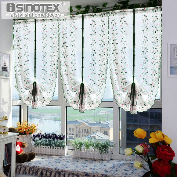 1PCS Roman Window Curtain Tulle Embroidered Voile Sheer Fresh Curtains For Kitchen - Beltran's Enterprise