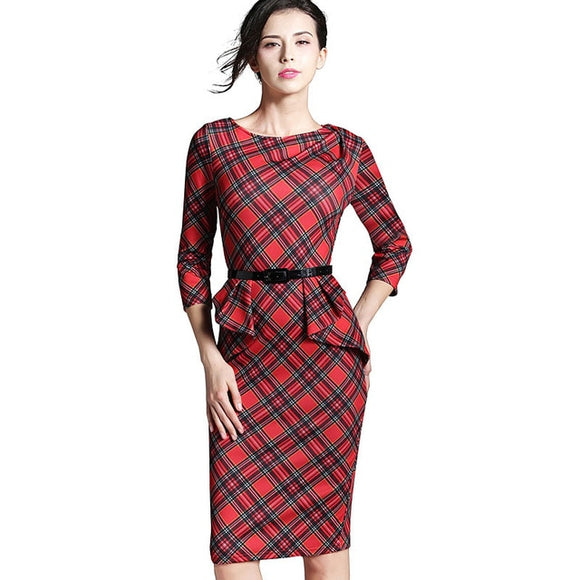 Nice-forever Spring Lady Vintage Tartan Red New Year Fitted Dress O Neck 3/4 Sleeve Belt - Beltran's Enterprise