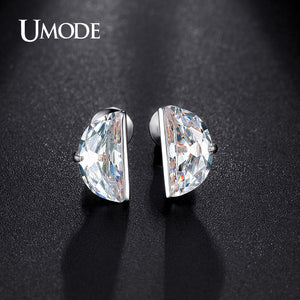 UMODE Delicate 10mm Diameter Half Round CZ Crystal White Gold Color Stud Earrings Jewelry for Women Boucle D'oreille UE0193B - Beltran's Enterprise