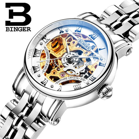 Switzerland luxury Women's watches BINGER brand Hollow Out Mechanical Wristwatches sapphire - Beltran's Enterprise
