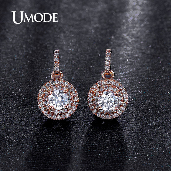 UMODE Fantastic Halo 0.5ct CZ simulated CZ Stone Rose Gold Color Dangle Drop Earring Jewelry for Women Pendientes Brinco UE0198A - Beltran's Enterprise