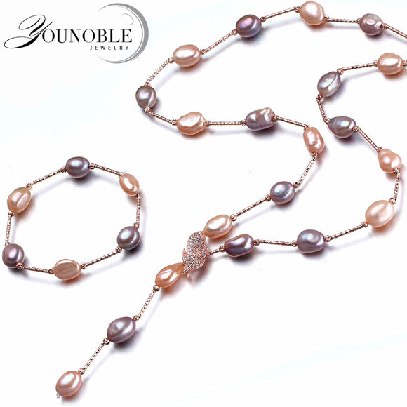 YouNoble Baroque bridal jewelry sets,boho wedding women jewelry set multicolor freshwater natural