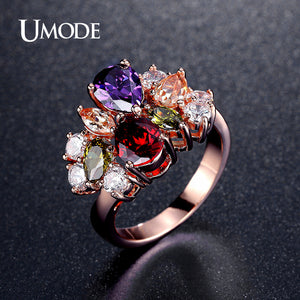 UMODE Vintage Multishaped And Multicolor Shiny CZ Stones Cocktail Rings Rose Gold Color Jewelry - Beltran's Enterprise