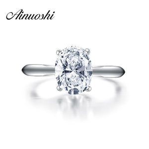 AINOUSHI New Brand Engagement Solitaire Ring Micro Setting 2 Carat Oval Ring Wedding - Beltran's Enterprise