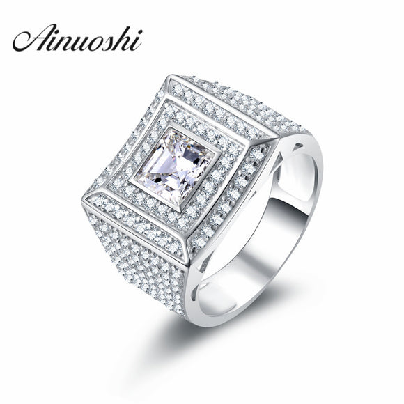 AINOUSHI Solid 925 Sterling Silver Men Ring Princess Cut Simulated SONA Engagement - Beltran's Enterprise