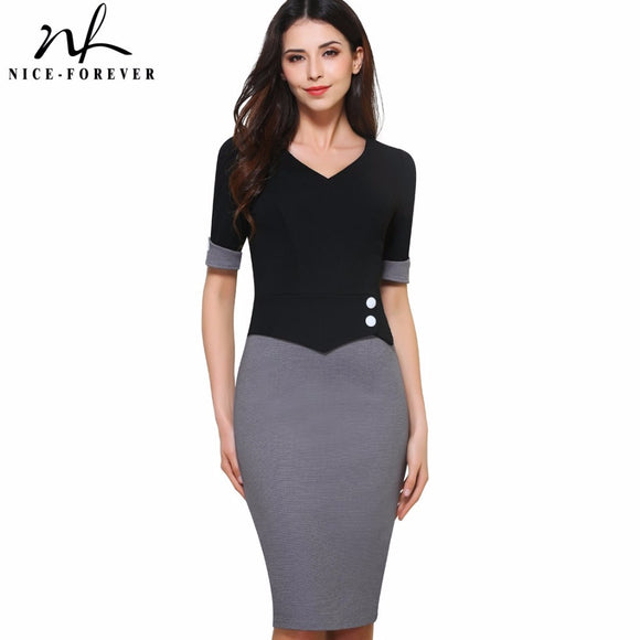 Nice-forever Vintage Mature Patchwork Short Button Sleeve V-Neck Wear to Work Bodycon Women Office Pencil Slim Dress B364 - Beltran's Enterprise