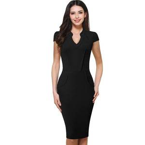 Nice-forever Office Women Vintage Summer Solid V-neck Back Zipper Formal Wear to Work Stretch - Beltran's Enterprise