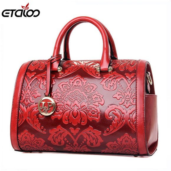2017 women bag Fashion vintage Floral Embossed Handbags Famous designers brand - Beltran's Enterprise