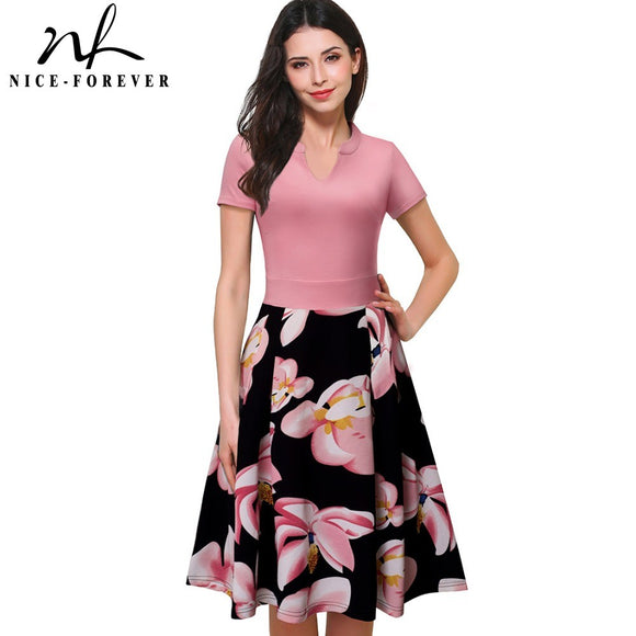 Nice-forever Vintage Stylish Print Floral Patchwork V-Neck Women Casual Office Dress - Beltran's Enterprise