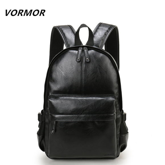 VORMOR Brand Preppy Style Leather School Backpack Bag For College Simple Design Men Casual - Beltran's Enterprise