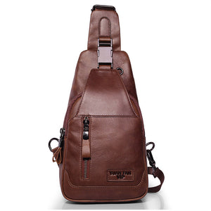 Brand Genuine Leather Casual Sling Bag Men's Chest Pack Crossbody Shoulder Bag - Beltran's Enterprise