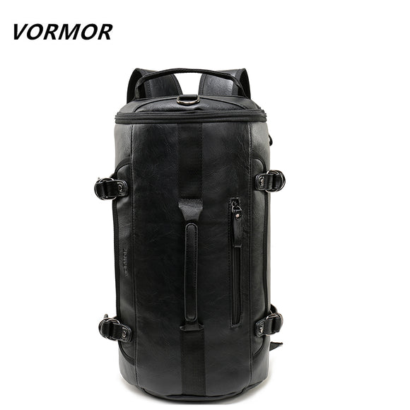 VORMOR Personality Large Size Round Leather Mens Travel Bag Fashion Rolling Travel Backpack - Beltran's Enterprise