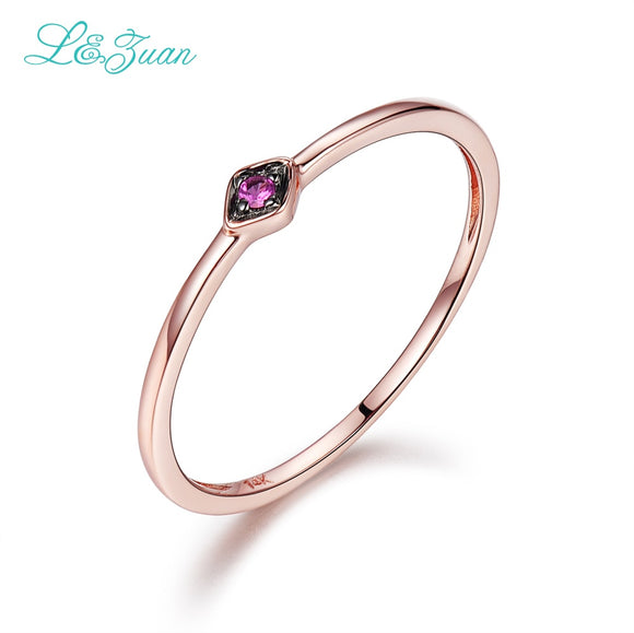 L&Zuan 14K Rose Gold Ruby 0.029ct Natural Small Slim Rings for Women Green/Blue/Red Stone - Beltran's Enterprise