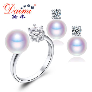 DAIMI Natural Purple Pink White Black Pearl Earrings Ring Sets, Natural Pearl Sets, Party Jewelry Sets For Woman - Beltran's Enterprise