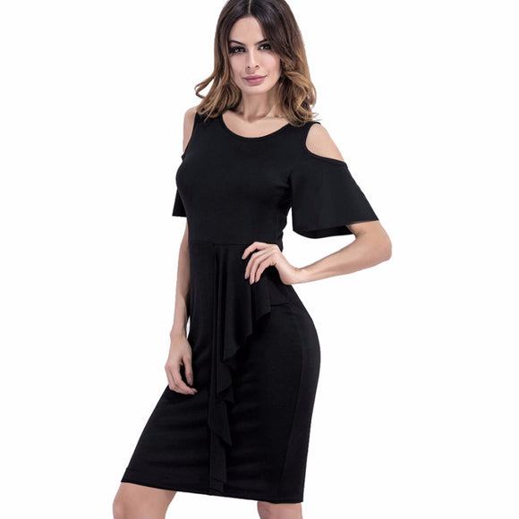 Casual Women O-Neck Elegant Sexy Off Shoulder Flare Sleeves Draped Summer Dress Party Club Business Sheath Pencil Dress EB396 - Beltran's Enterprise