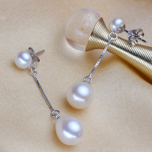 LACEY pearl earrings,long natural freshwater pearl earrings silver 925,mother of pearl earrings - Beltran's Enterprise