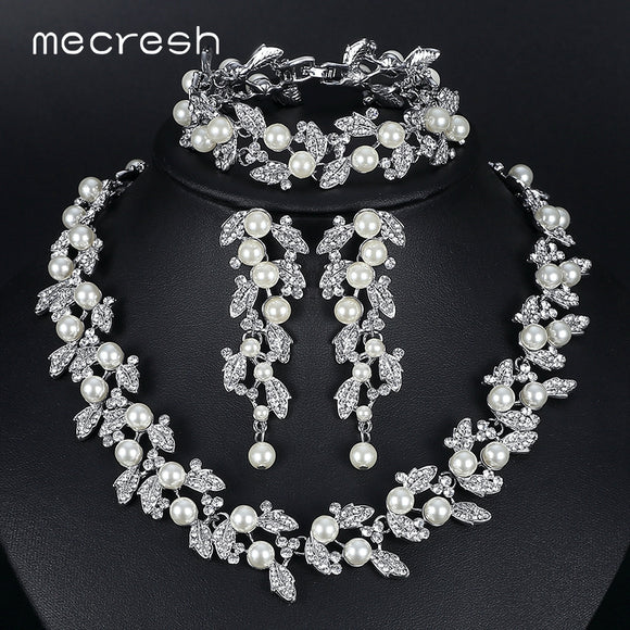 Mecresh Simulated Pearl Bridal Jewelry Sets Silver / Gold-Color Necklace Set Wedding Jewelry - Beltran's Enterprise