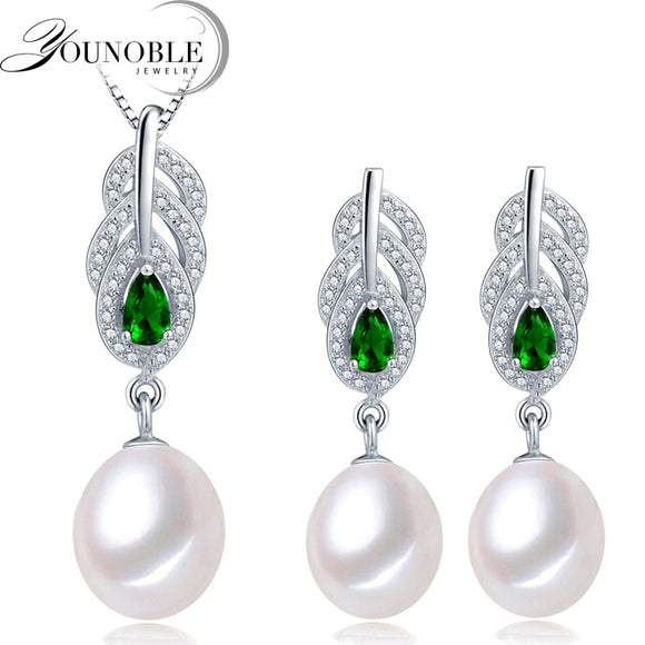 YouNoble Freshwater Pearl Jewelry Set Women,925 silver bridesmaid jewelry set bohemian sapphire