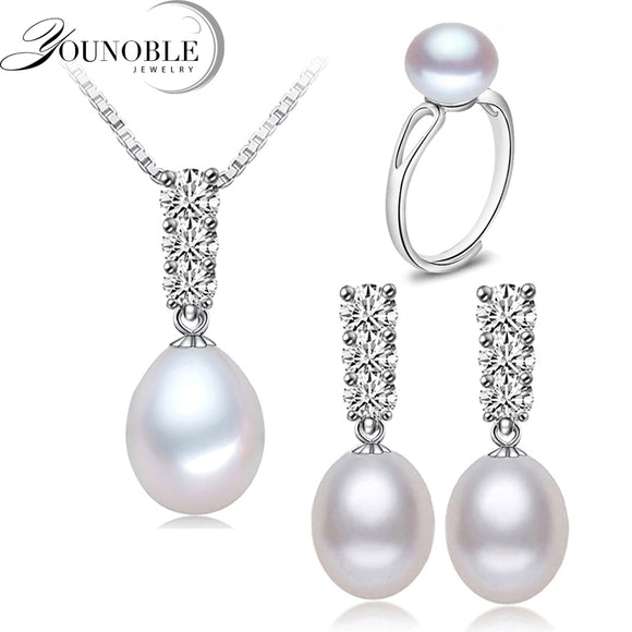 YouNoble Trendy natural pearl Necklace Set women freshwatewr pearl Jewelry Necklace Earring African Jewelry Sets White 45cm - Beltran's Enterprise