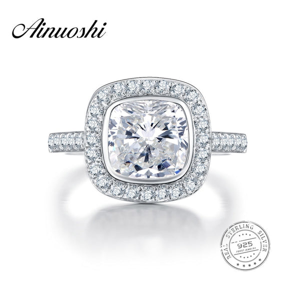 AINUOSHI 3 Carat Brilliant Cushion Cut NSCD Engagement Big Ring Genuine 925 Sterling - Beltran's Enterprise