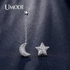 UMODE Trendy Star and Moon With Chain White Gold Color Drop Earrings Jewelry Boucles D'oreille Women UE0196B - Beltran's Enterprise