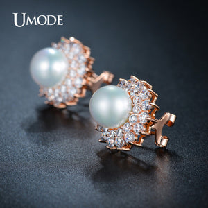 UMODE Noble Shaped Synthetic Pearl Earrings French Clip Stud Earrings Semi Joias New Rose Gold Color Jewelry Aretes UE0161A - Beltran's Enterprise