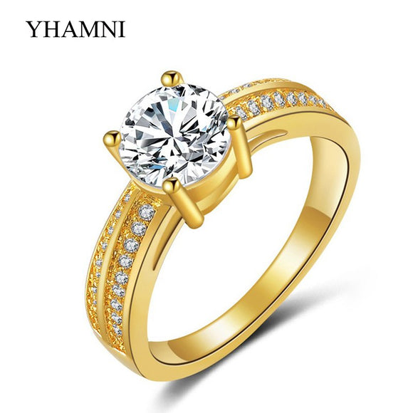 Fine Jewelry Real 24K Yellow Gold Rings For Women 1 Carat CZ Diamant Engagement - Beltran's Enterprise