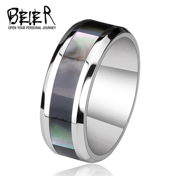 BEIER Stainless High Polished Black Stripe For Man, Steel Man's Wedding Fashion Jewelry Ring - Beltran's Enterprise
