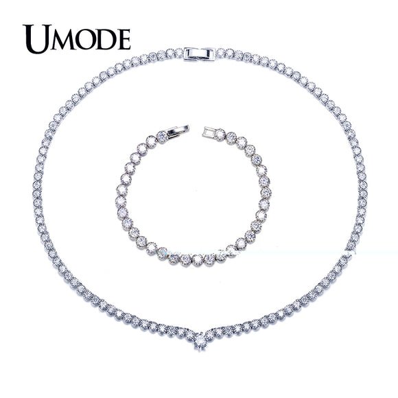 UMODE Fashion White Gold color Crystal Wedding Jewelry Sets for Women Tennis Bracelet and Round CZ Necklace Jewelry Sets US0042 - Beltran's Enterprise