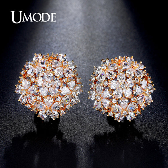 UMODE Latest Pear Cut Cluster Flower Top Quality CZ  Gold-color French Clip Stud Earrings for Women Boucle D'oreille UE0188A - Beltran's Enterprise