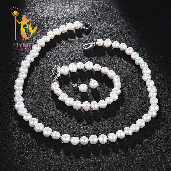 [NYMPH]Fresh Water Pearl Jewelry Set For Women Natural Baroque White Stone Beads Choker Necklace Earrings Bracelet Party [T207] - Beltran's Enterprise