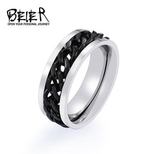 BEIER New Part Plated-Gold/Black Man's Spin Chain Ring For Stainless Steel Cool Man Woman Fashion - Beltran's Enterprise