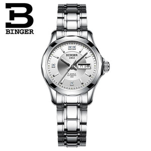2017 Binger Watch Women Luxury Brand Japan Automatic Mechanical Movement Wrist Sapphire - Beltran's Enterprise