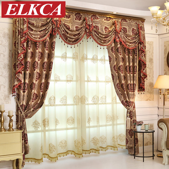 European Luxury Jacquard Blackout Curtains for Bedroom Luxury Curtains - Beltran's Enterprise