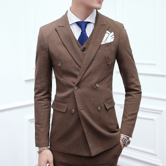 Men's Fashion Boutique Wedding Dress Suit Three-piece Suits / Male Slim - Beltran's Enterprise