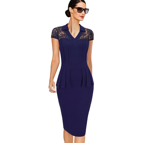 Women V-Neck Sexy Lace Vintage Short Sleeve Elegant Business Dress Office Casual Sheath Bodycon Dress 1EB387 - Beltran's Enterprise