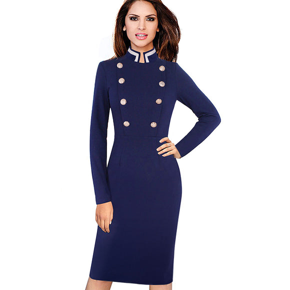 Women Vintage Autumn Winter Long Sleeve Navy Blue Stand Collar Double-Breasted Button Business Work Bodycon Pencil Dress EB410 - Beltran's Enterprise