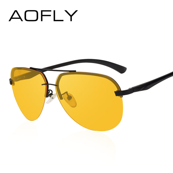 AOFLY New Arrival Yellow Polarized Rimless Sunglasses Men Women Night Vision Goggles Driving - Beltran's Enterprise