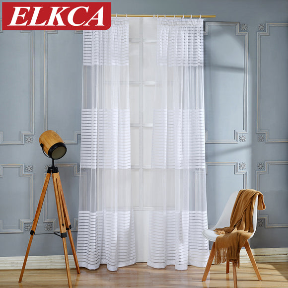 Horizontal Striped Curtains Tulle for Living Room Window Curtains for the Bedroom - Beltran's Enterprise