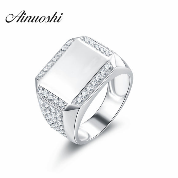 ANUOSHI Men Ring Real Solid Silver Jewerly for Male Vintage Engagement - Beltran's Enterprise