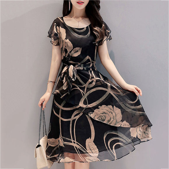 FEIBUSHI Summer Chiffon Dress Outer Space Casual Floral Print Women Round Neck Hollow Out Printed - Beltran's Enterprise