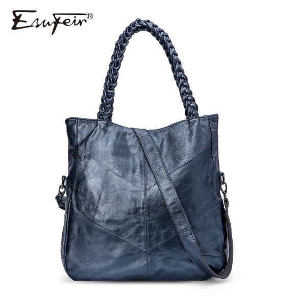 ESUFEIR Brand Genuine Leather Women Handbag Cow Leather Patchwork Shoulder Bag Fashion - Beltran's Enterprise
