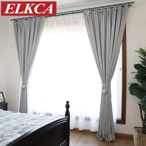 American Solid Color Thick Faux Linen Blackout Curtains for Living Room Colorful - Beltran's Enterprise
