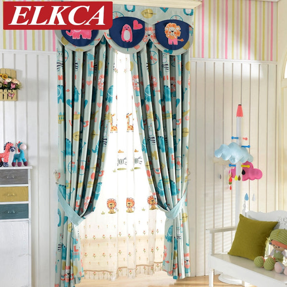 Double-sided Cartoon Printed Blackout Curtains for Kids Room Elephant Horse Printed - Beltran's Enterprise