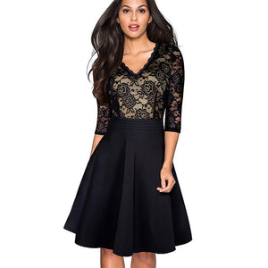 Nice-forever Vintage Black Flower Elegant Lace Ruffle vestidos See Through Sleeve A-Line - Beltran's Enterprise