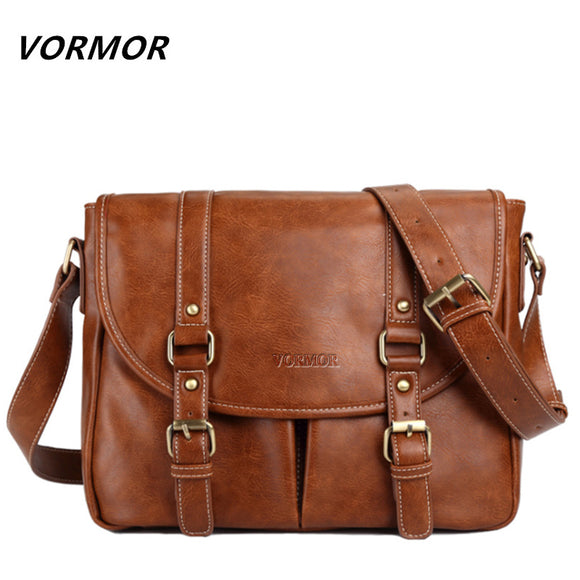 VORMOR Brand Leather Men Bag Casual Business Leather Mens Messenger Bag Fashion - Beltran's Enterprise