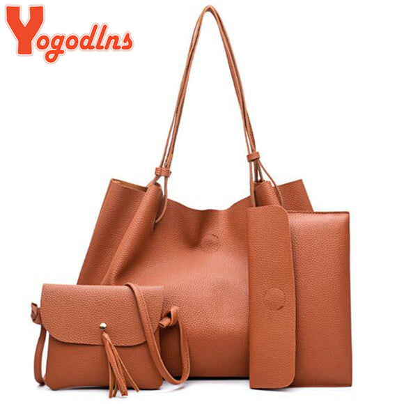 Yogodlns Tassel Bag Set for Women 4 PCS Composite Bag PU Leather Shoulder Handbag Female Casual Totes Large Messenger Bag - Beltran's Enterprise