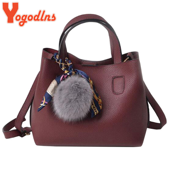 Yogodlns New Arrival PU Leather Women Handbags Single Shoulder Bag Girls Small Casual Shopping Bag Crossbody Bag Hairball Decals - Beltran's Enterprise